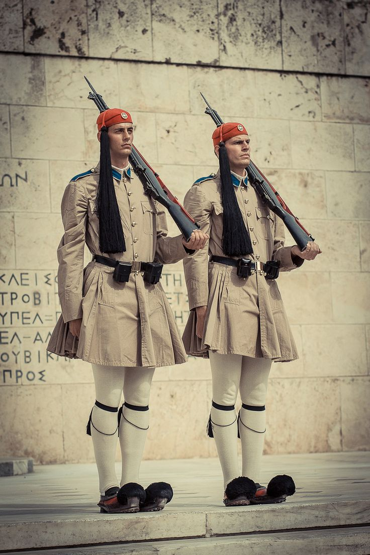 This is my Greece | The Evzones (Greek Presidential Guard) at the Tomb of the Unknown Solder at Syntagma square in Athens