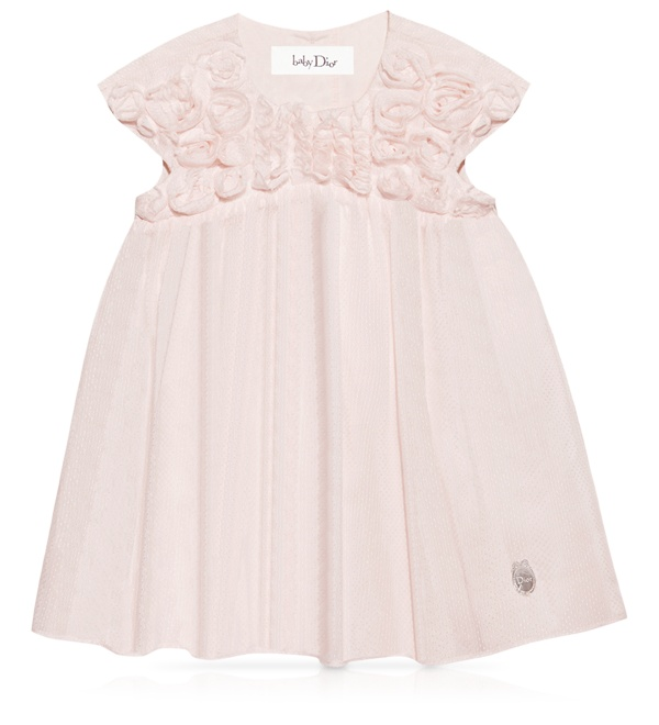 BABY DIOR - Pink printed polka dot cotton voile dress