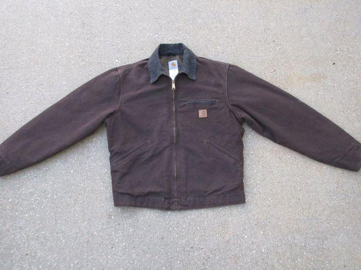 Carhartt Sandstone Detroit Work Jacket Dark Brown Mens M J97 Blanket Lining #Carhartt #BasicJacket