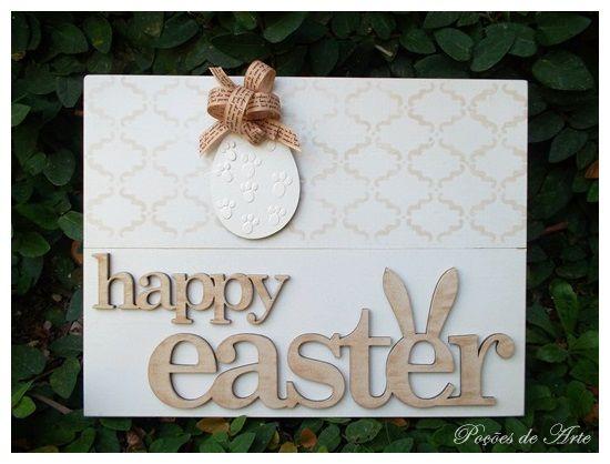 Lojinha Poções de Arte: Placa - Happy Easter.