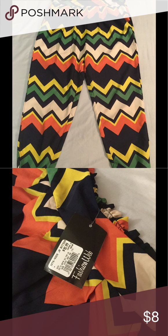 Chevron Pants Multicolored chevron print pants with elastic ankle. Front pockets. Size XL in Juniors...fits more like a L....BRAND NEW WITH TAGS!!! Pants Straight Leg