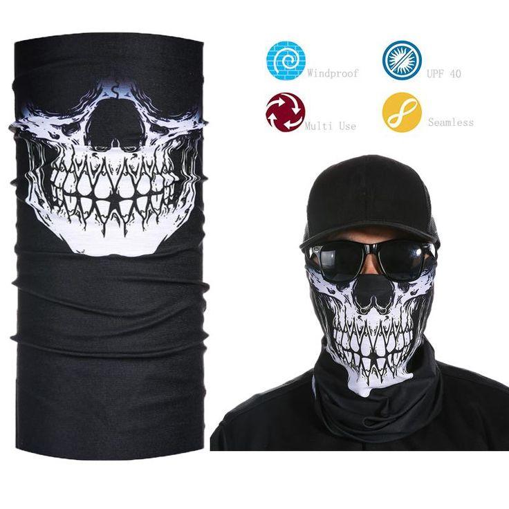 Skeleton Ghost Skull Face Mask Biker Face Shield Balaclava Half Face Bandana