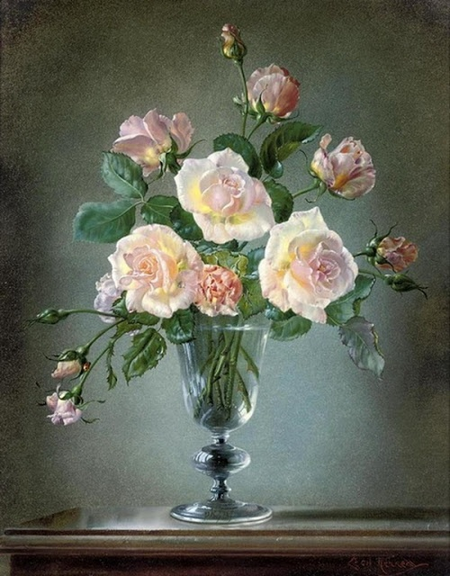 Flowers Painting by Cecil Kennedy (1905 – 1997), was a British artist best known for his highly detailed oil paintings of flowers. He was also known for including a ladybird or a bumblebee in his pictures.