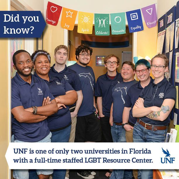 The University of North Florida has a full-staffed LGBT Resource Center available to students and staff.