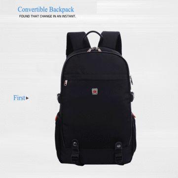 Men Nylon 17 Inch Convertible Backpack Fashion Travel Bag Business Laptop Backpack