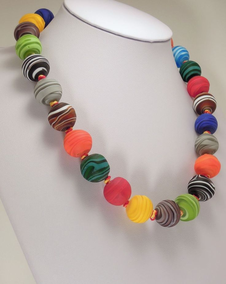 Rainbow Necklace Murano Glass Beads Style