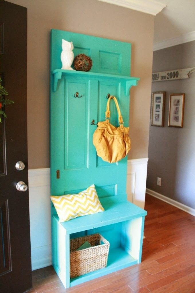 Cool DIY aqua hall tree made from old door. What a clever idea. Unique