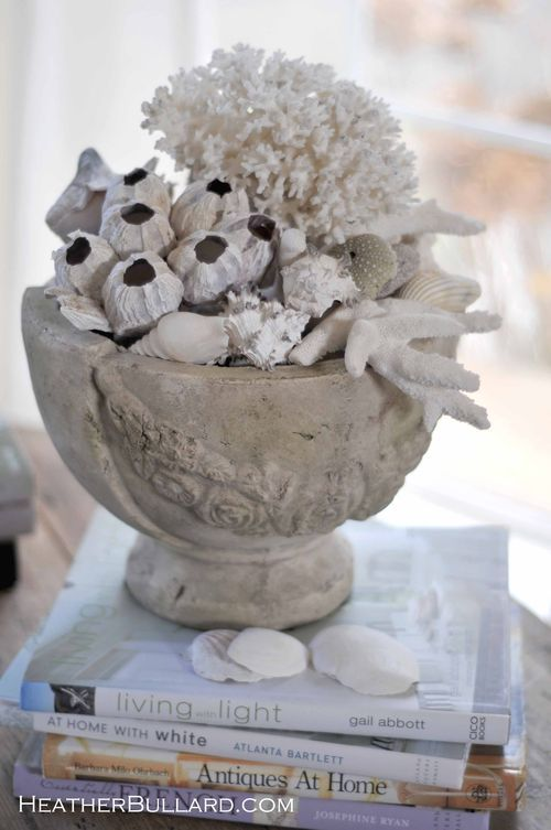 Urn With Shells Coral And Barnacles