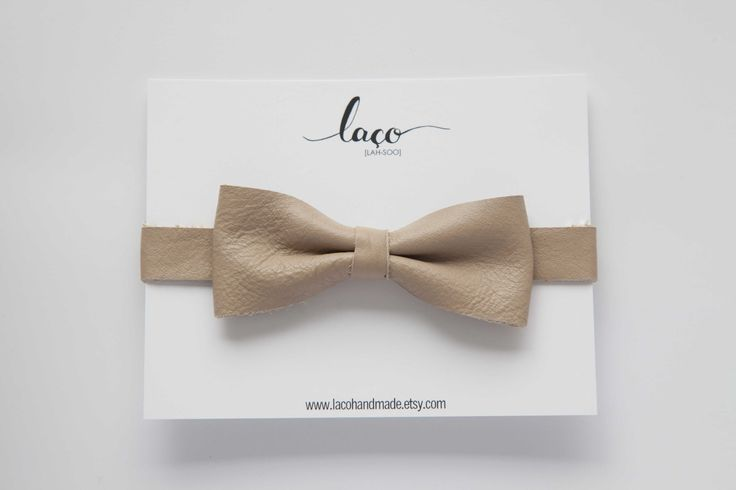 nude leather bow tie, cream beige Classic bow tie - wedding bow tie - kids bow tie - toddler bow tie by LacoHandMade on Etsy