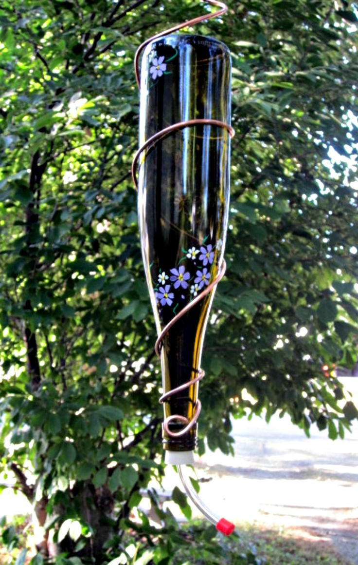 recycled gardening | Hummingbird Feeder Wine Bottle Recycled Garden by GlassGaloreGal