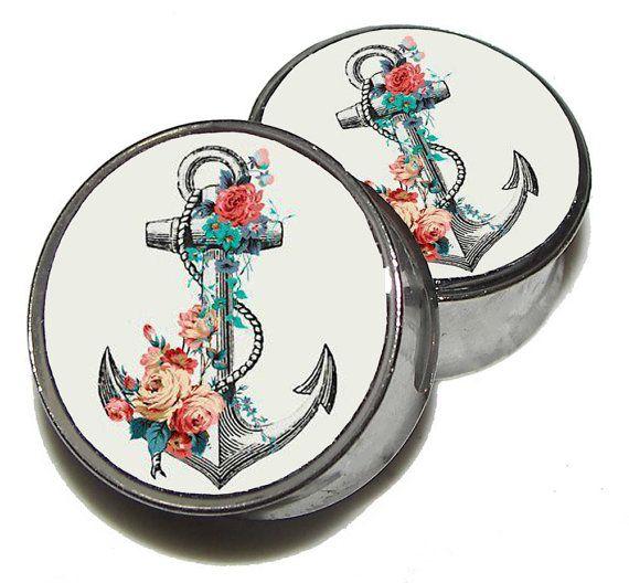 "Anchor & Roses Plugs - 1 Pair - Sizes 2g, 0g, 00g, 7/16"", 1/2"", 9/16"", 5/8"", 3/4"", 7/8"" 1"" on Etsy, $19.95"