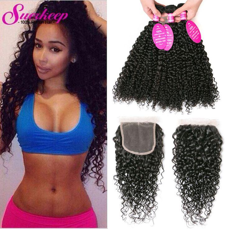 Brazilian Kinky Curly Virgin Hair With Closure 3 Bundles With Closure Curly Hair With Closure Brazilian Virgin Hair With Closure ** Ini pin AliExpress affiliate.  Mengklik pada gambar akan membawa anda untuk menemukan produk serupa