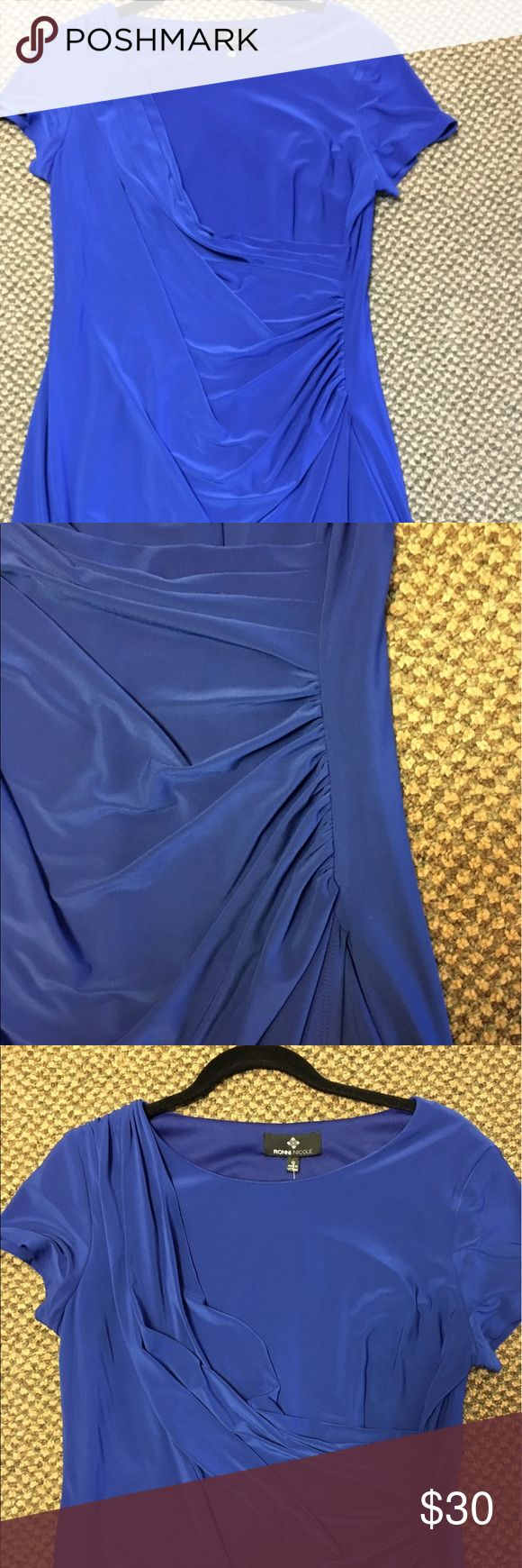 Ronni Nicole Cobalt Blue Knit Faux Wrap Dress 12 Super easy to wear and pack! Short sleeves, almost cap sleeves. Fake wrap dress look. Just pull over head. Fully lined. Stretch knit. Excellent condition. Ronni Nicole Dresses