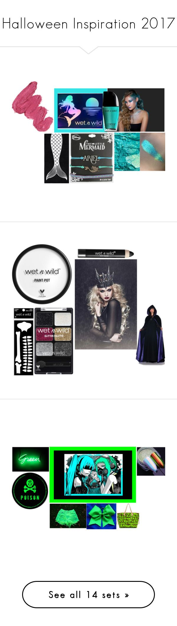 """""""Halloween Inspiration 2017"""" by xzentra-1 ❤ liked on Polyvore featuring halloween2017, beauty, Wet n Wild, Disney, PBteen, Mermaid Salon, mermaid, WetnWild, GAS Jeans and Seletti"""