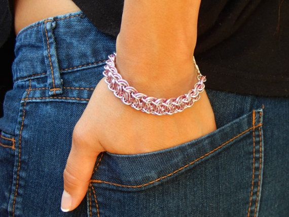 Pink and silver chainmaille bracelet (scheduled via http://www.tailwindapp.com?utm_source=pinterest&utm_medium=twpin&utm_content=post108256425&utm_campaign=scheduler_attribution)