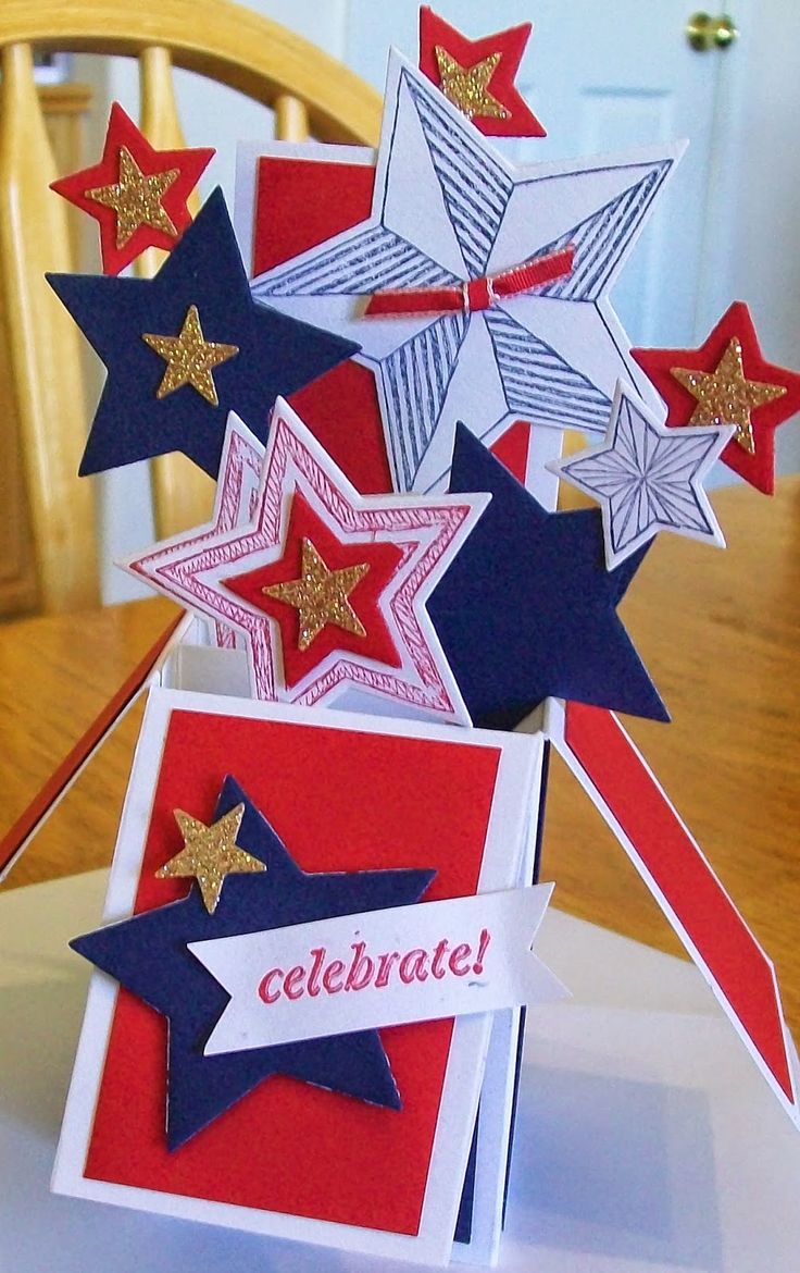 Happy 4th of July!! Card in a box www.crazystampinglady.blogspot.com Maureen Rauchfuss