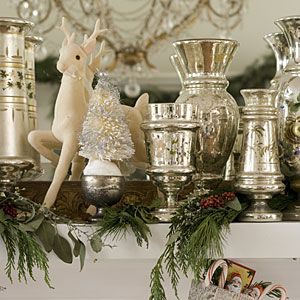 Vintage Christmas Decorations: Mercury Glass Vases