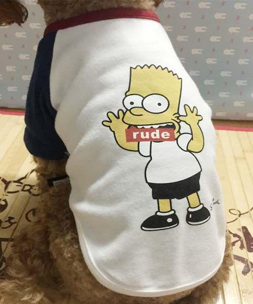 シンプソンズ 犬服 tシャツ simpsons ドッグウェア チワワ 服 ラグランティーシャツ 可愛い♡