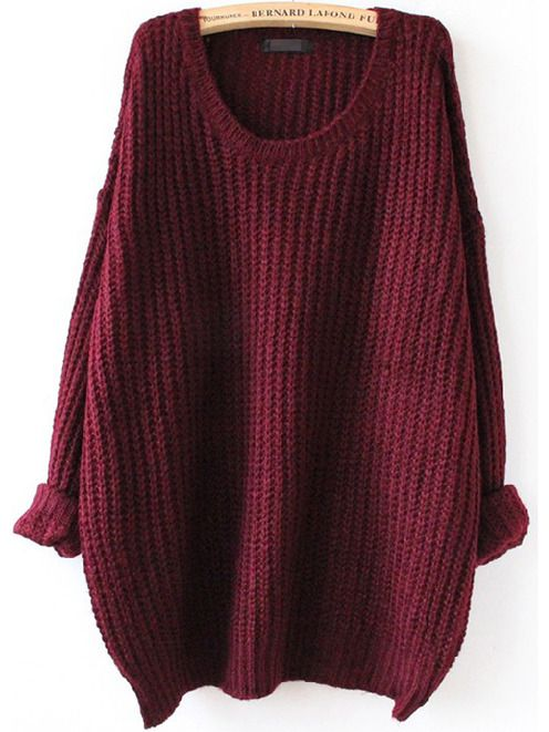 Red Batwing Long Sleeve Loose Knit Sweater: