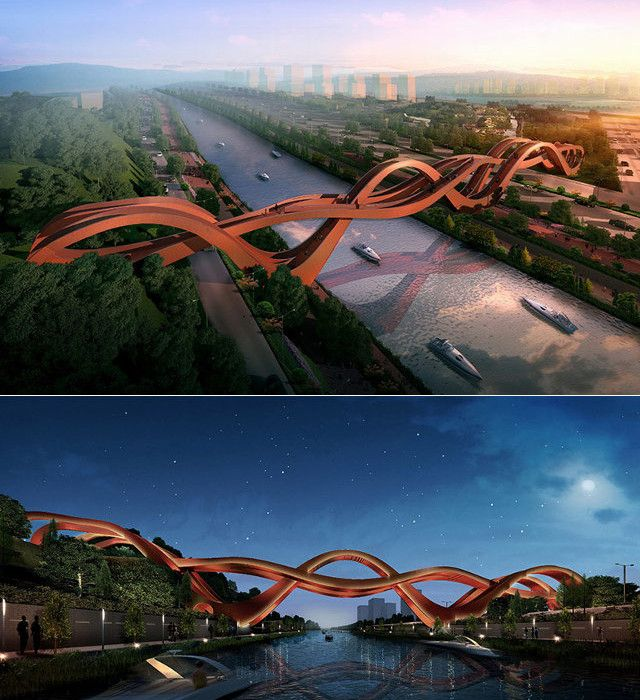 This is the pedestrian bridge to be built over the Dragon King Harbor River in Changsha, China.
