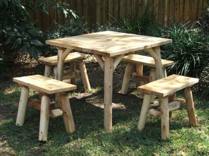 Exceptional Contoured Comfort Log Parquet Table   Outdoor U0026 Patio Log Furniture