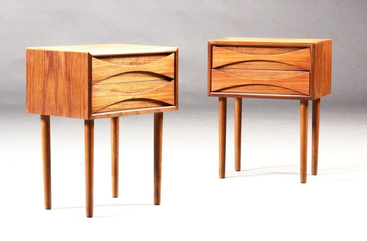 A pair of tall Arne Vodder night tables in teak by CopenRetro on Etsy