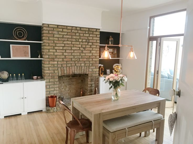 Exposed brick dining room farrow and ball teal copper