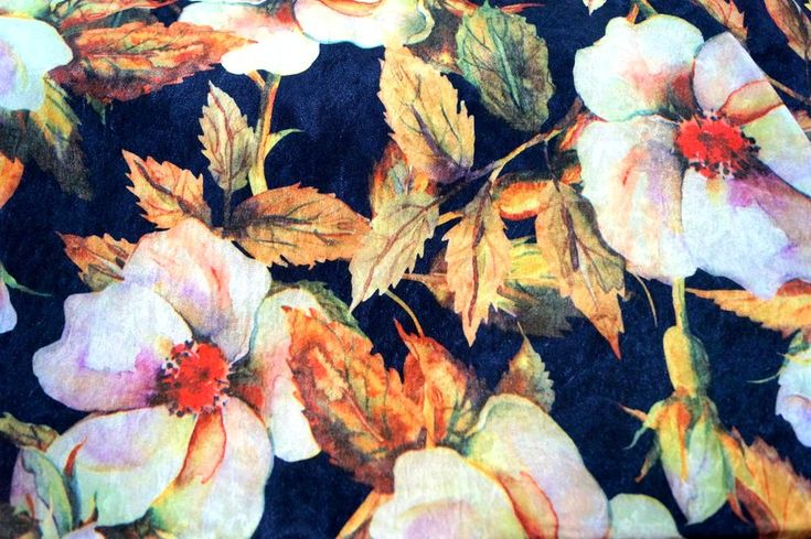 NB 4889-014 tricot velour de panne bloemenprint donkerblauw multi