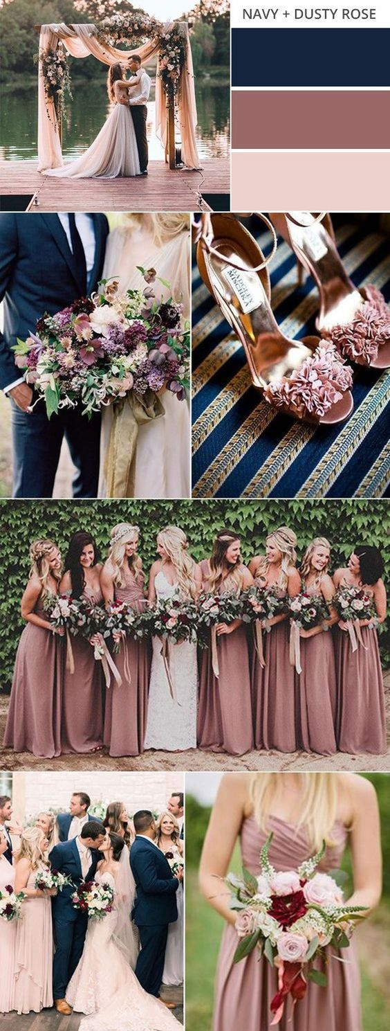 navy blue and dusty rose wedding color ideas for f…