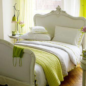 I like the pop of green with the white bedding: Dreams Bedrooms, Spare Bedrooms,  Comforter, Bedrooms Beds, Happy Colors, French Country,  Puff, Green Rooms, White Beds Linens