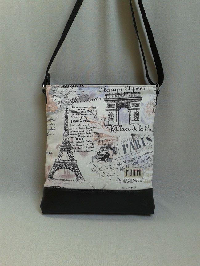 Csodálatos mintájú #párizs mintás anyagból, fekete textilbőr felhasználásával készült ez a táska. A fekete- bézs kombináció, télen és nyáron is hordható. Most nagyon divatos, fiatalos ez a minta. Szinte minden ruhához illik. Cross-bag női #táska.