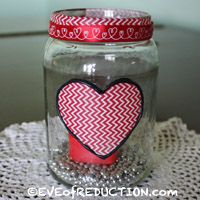 Valentine's Day Recycled Craft: Jar Luminary with chevron washi tape and heart-shaped electronic tea light from Target Dollar Spot- Eve of Reduction