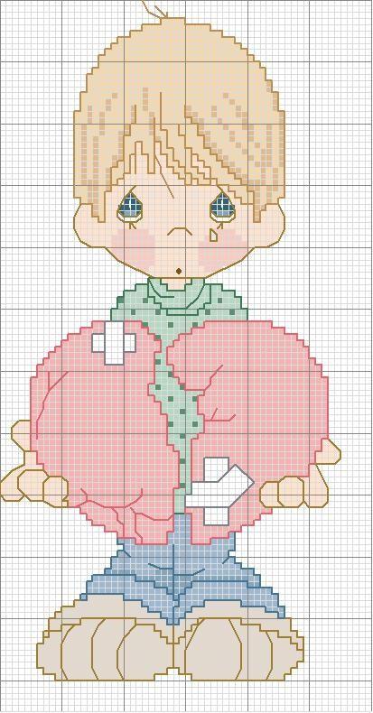 Disegno per punto croce di un bambino con cuore