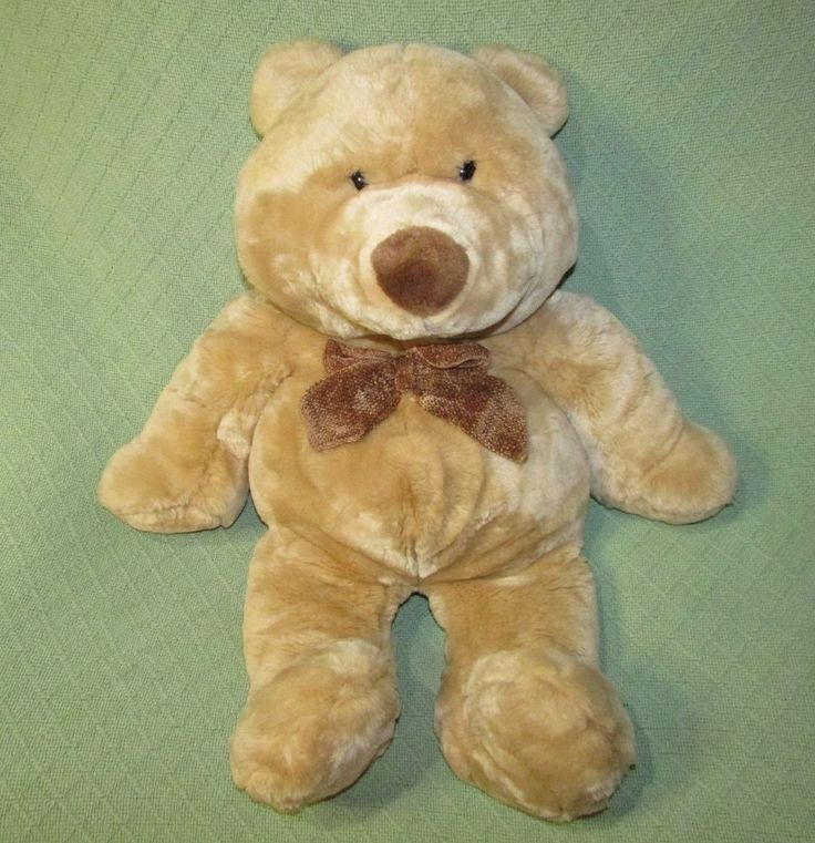"""Animal Alley TEDDY BEAR Commonwealth Toys 12"""" Tan with Brown Bow Tie SOFT Cuddly #AnimalAlley"""