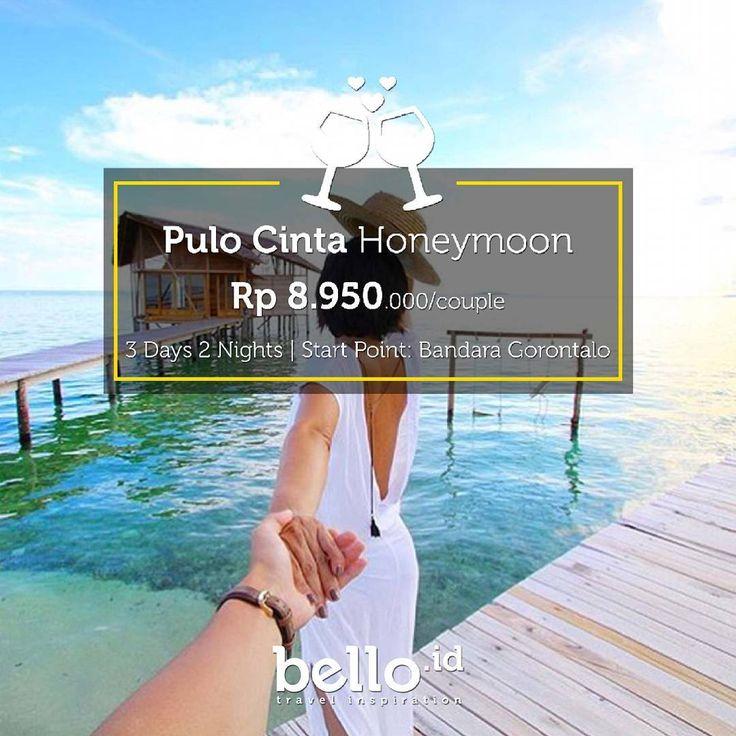 Di sini, kamu dan pasangan bisa nikmatin mulai dari sunrise yang menyegarkan sampai sunset yang romantis, Berdua aja!  Mau?  Berarti kamu harus ajak pasanganmu bulan madu di Pulo Cinta!  Klik travel.bello.id/ untuk info lebih lengkap ya ��  #pulocinta #gorontalo #honeymoon #justmarried #married #couple #valentine #belloid #bellotravelers http://gelinshop.com/ipost/1523176589588115457/?code=BUjaQnAlzAB