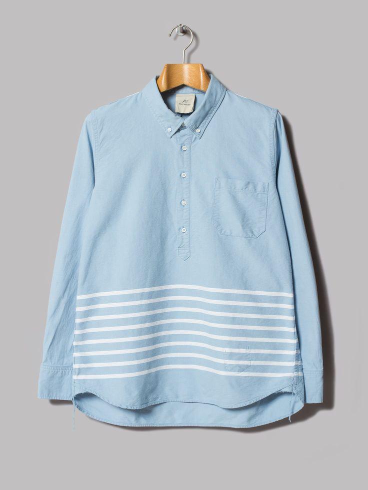 Remi Relief Indigo Line Pullover Oxford Shirt (Blue)