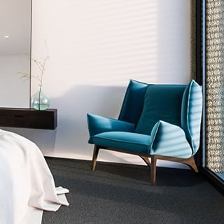Toa armchair by Rémi Bouhaniche for Ligne Roset nicely holding corner in a new bedroom we