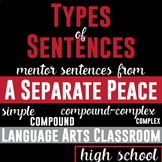 Types of Sentences: Mentor Sentences from A Separate Peace