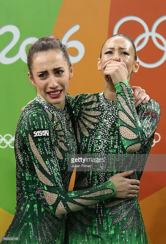 Team Bulgaria reacts after winning bronze during the Group All-Around Final on Day 16 of the Rio 2016 Olympic Games at Rio Olympic Arena on August 21, 2016 in Rio de Janeiro, Brazil.
