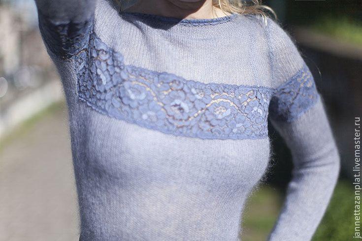 """Купить платье """"Сиреневый туман"""" - серый, вязаное платье, авторская ручная работа, платье спицами"""