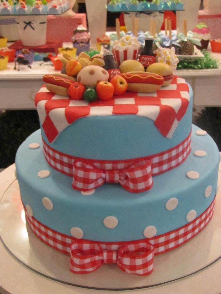 Oodles of cutey-pie cakes here! Love this picnic cake.