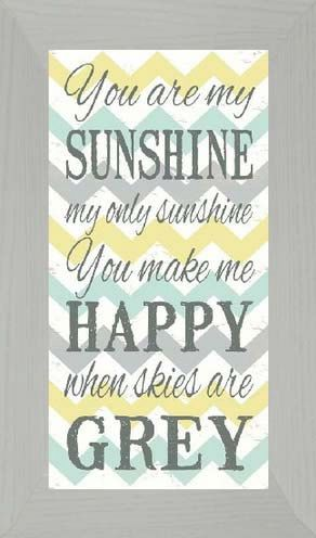 You Are My Sunshine Yellow Grey Chevron Framed by SummerSnow0123, $48.95