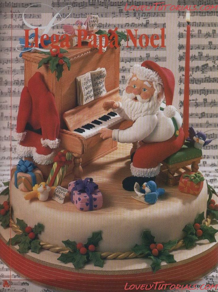 "@KatieSheaDesign ♡♡ #Cakes♡♡  #Christmas Cake tutorial ""Santa Claus playing piano"""