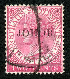 1890-91 Scott 12 2c rose Stamps of Straits Settlements overprinted in Black Johore