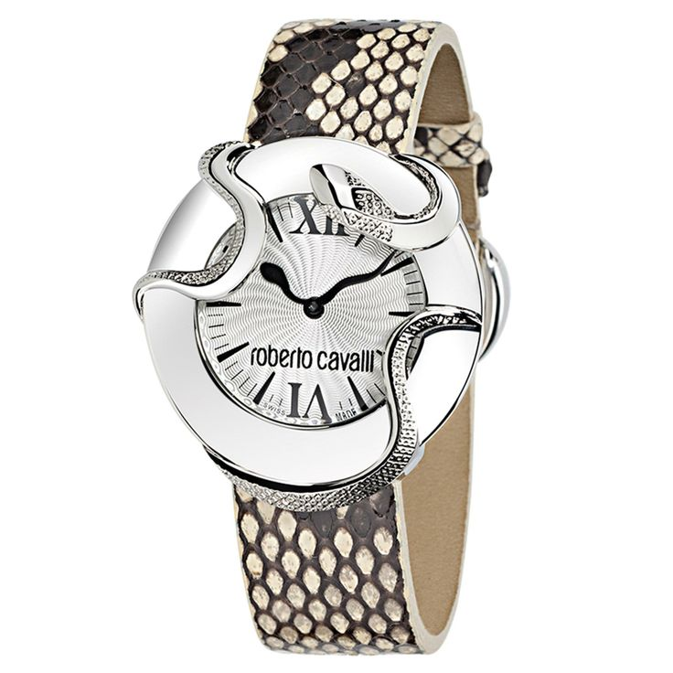 Roberto Cavalli  Snake 2H Stainless Steel Case Silver Dial Brown Strap For Ladies  ~ 7251165815