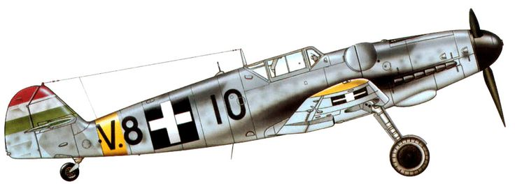 """Messerschmitt Bf.109G-6, unit 101/1 szazad """"Puma"""", pilot - Aladar Heppes. On June 26th, 1944 flew this aircraft he shot down two B-24 of 15th AF."""