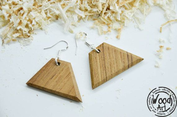 Natural Wood Earrings Teak Wood Earrings Drop by TheWoodArtShop