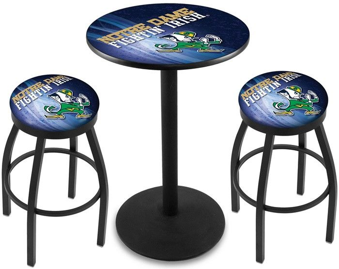 Notre Dame Fighting Irish Leprikon D2 Black Pub Table Set. Available in two table widths.  Visit SportsFansPlus.com for Details.