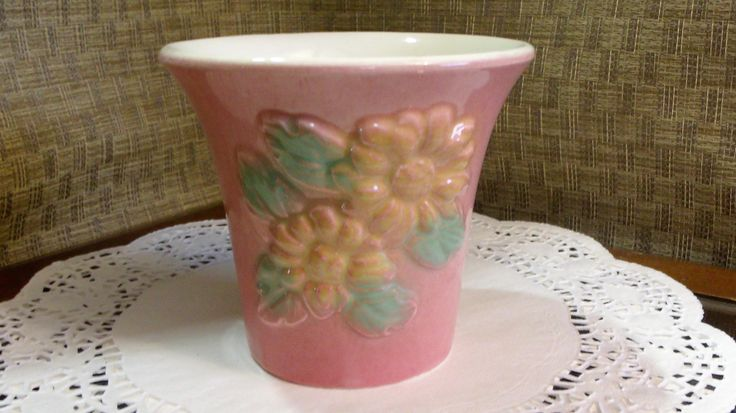 Hull Pottery PLANTER Sunglow ~ Pink OVER Yellow Daisy Daisies ~ Planter Flower Vase ~ USA Potter 5 1/2-97 ~ 1940's Shabby Cottage Chic Decor by EclecticJewells on Etsy