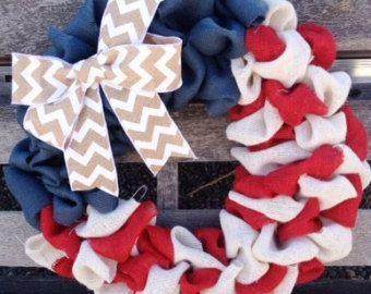 Patriotic burlap wreath- 4th of July Wreath-Fourth of July wreath- red white and blue wreath-Summer Wreath